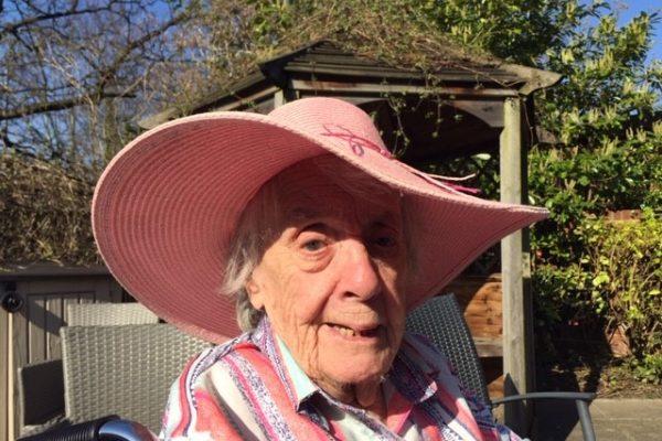 Beryl Harrison enjoying the sun at Wellcroft