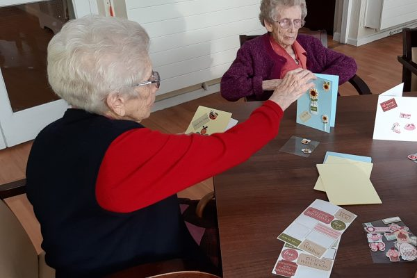 Eileen & Julia making cards